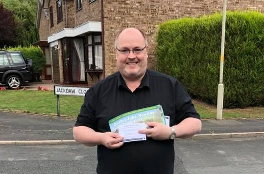 Shaun Keasey out helping to inform residents